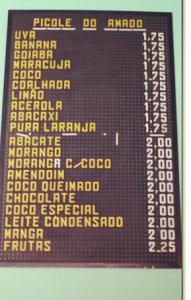 Tabela de preços do Picolé do Amado